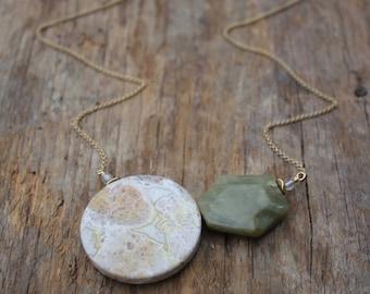 Amazonite and Green Jasper Balance Necklace