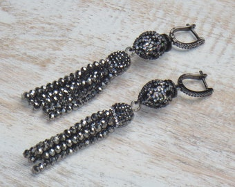 Boho Chic Pave Cz Crystal Tassels w/ Ornate Pave Beads Leverback Earrings