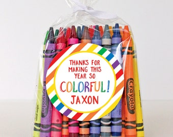 """Last Day of School Stickers - """"Thanks for Making This Year So COLORFUL!"""" - Sheet of 12 or 24"""