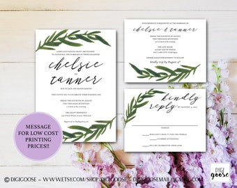 Greenery WEDDING INVITATION // Printable Wedding Invitation // Invitation Suite // Romantic Wedding Invitations // Foliage Calligraphy