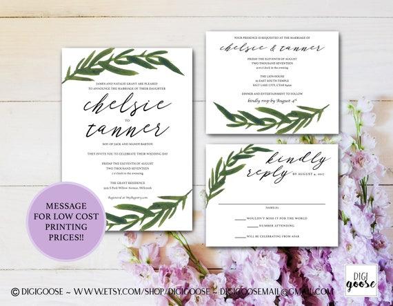 Greenery WEDDING INVITATION Printable Wedding Invitation
