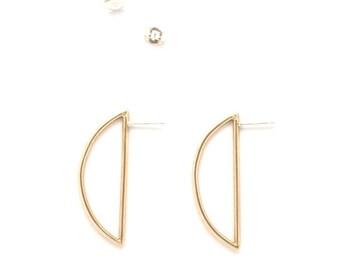 ARCHWAY EARRINGS -- Cast Bronze - Modern Stud Earrings - Sterling Silver Posts