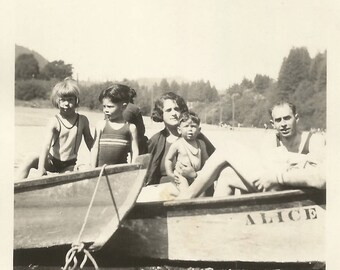 """Vintage Photo """"A Boat Named Alice"""" Monte Rio Russian River California Rowboat Found Vernacular Photo"""
