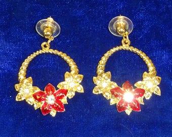Vintage Poinsettia flower pierced earrings enameled red poinsettia