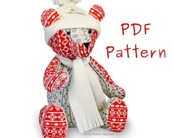 """Christmas Teddy - Jingle Bear, 13"""" Soft Toy PDF Sewing PATTERN & Easy Instructions"""