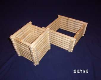 Handmade 'Lincoln Logs' 64 piece add on set