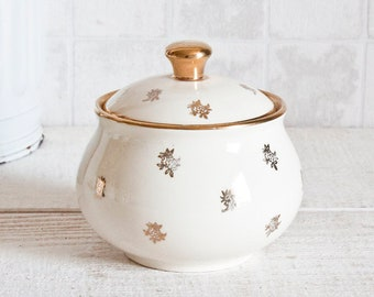 Lovely Vintage French VILLEROY & BOCH White and Gold Ceramic Sugar Bowl - Golden Floral Decor Shabby chic
