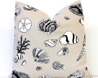 Tan Shell Nautical Designer Pillow Cover Accent Cushion Modern coastal beach cottage science oceana summer brown white cream khaki