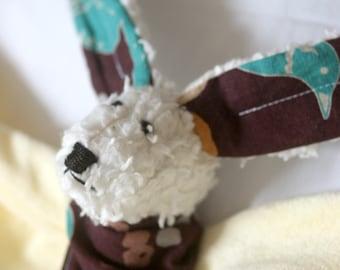 Hasen-Nuschi - vanille farbig abnehmbarem Nuggi