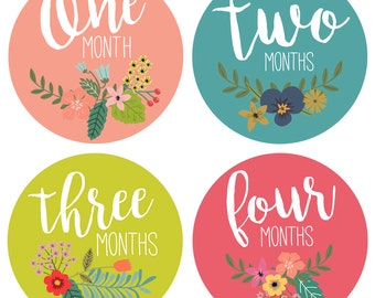 Baby Monthly Milestone Stickers - Baby Month Stickers for Girls - Floral Bouquet- 12 months - Baby flower age stickers