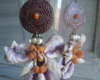 Earrings Bohemian chic, dangle earrings, Carnelian earrings