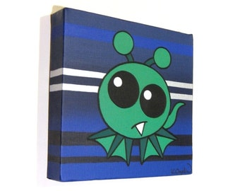 Little Green Alien on Blue Stripes original art - acrylic painting of a cute extraterrestrial, nursery artwork on square canvas