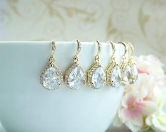 Bridesmaid Earrings Set of 5, 6, 7, 8, 9, 10, 11, 12 GOLD PLATED Bridal Earrings LARGE Teardrop White Crystal Cubic Zirconia Wedding Earring