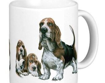 Basset Hound, Basset Hound With Puppies, Basset Hound Family, Basset Hound Gift Mug
