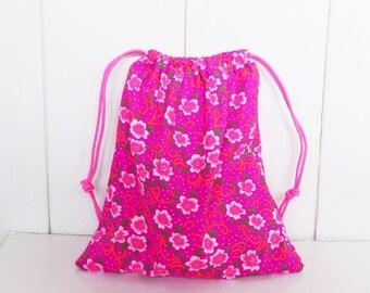 Storage pouch 28 x 24 cm - neon flower pattern fabric travel pouch
