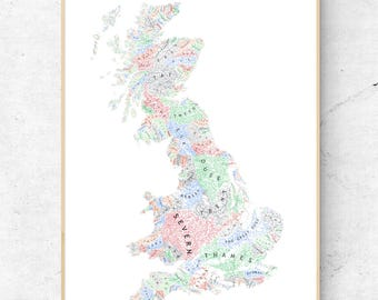 The Rivers of Great Britain Labelled - Light Pastels on White