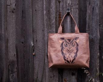 """Leather bag, Shopper bag """"Owl"""", Applique Leather Bag,Leather Handbag."""