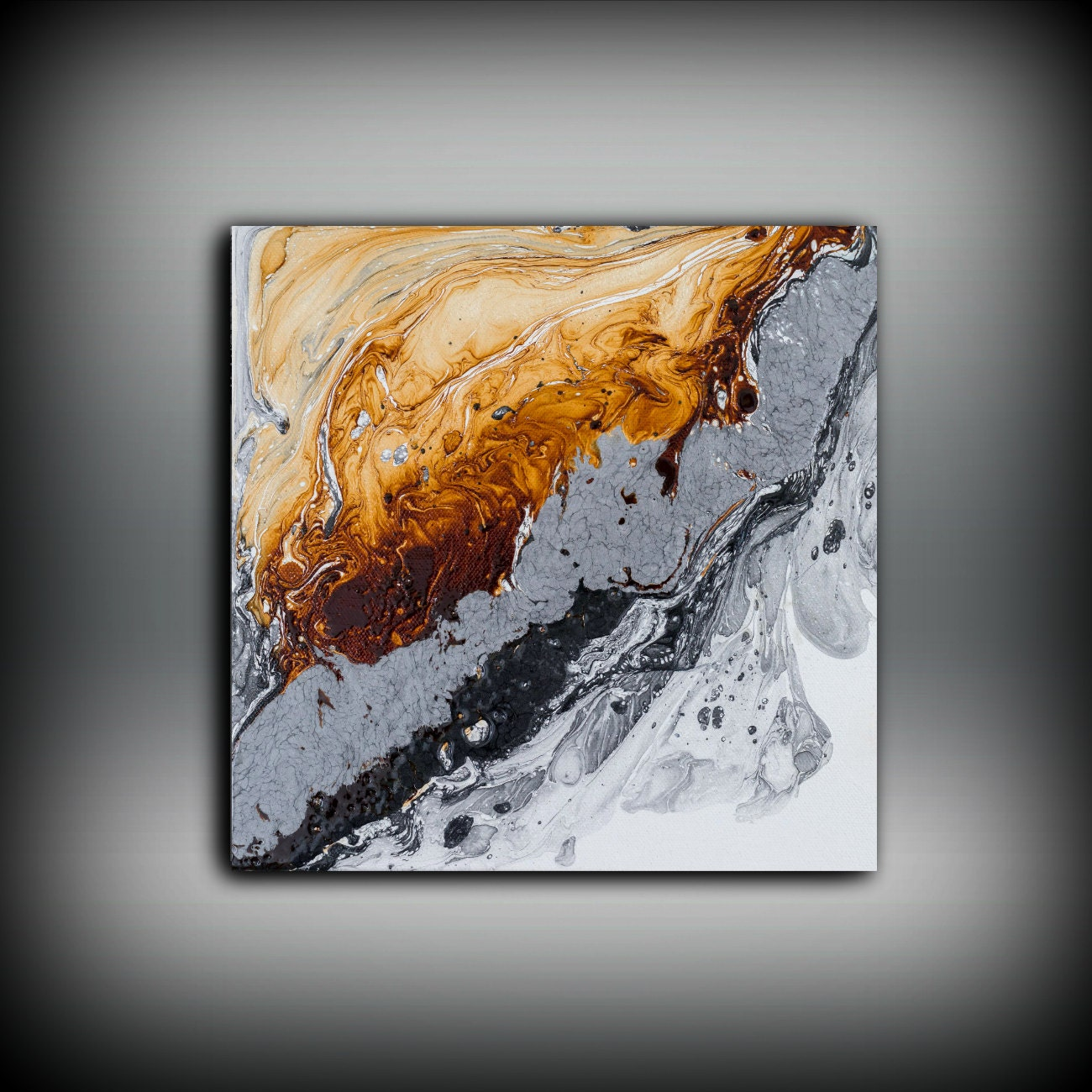 ORIGINAL Painting Art Painting Oil Painting Abstract Painting Black White Copper  Wall Hanging Small Wall Art Modern Wall Decor 10 X 10
