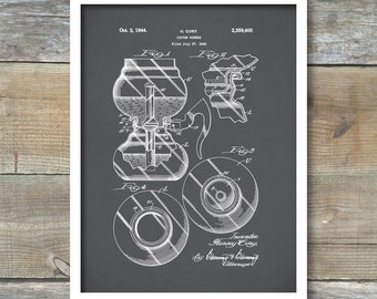 Silex Coffee Brewer, Patent Prints, Patent Poster, Coffee Decor, Restaurant Wall Art, Kitchen Art, Kitchen Wall Decor, P414