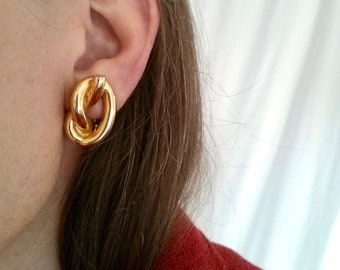 Gold-tone Knotted Statement Earrings -- Large Loose Sculptural Overhand Knot -- Vintage