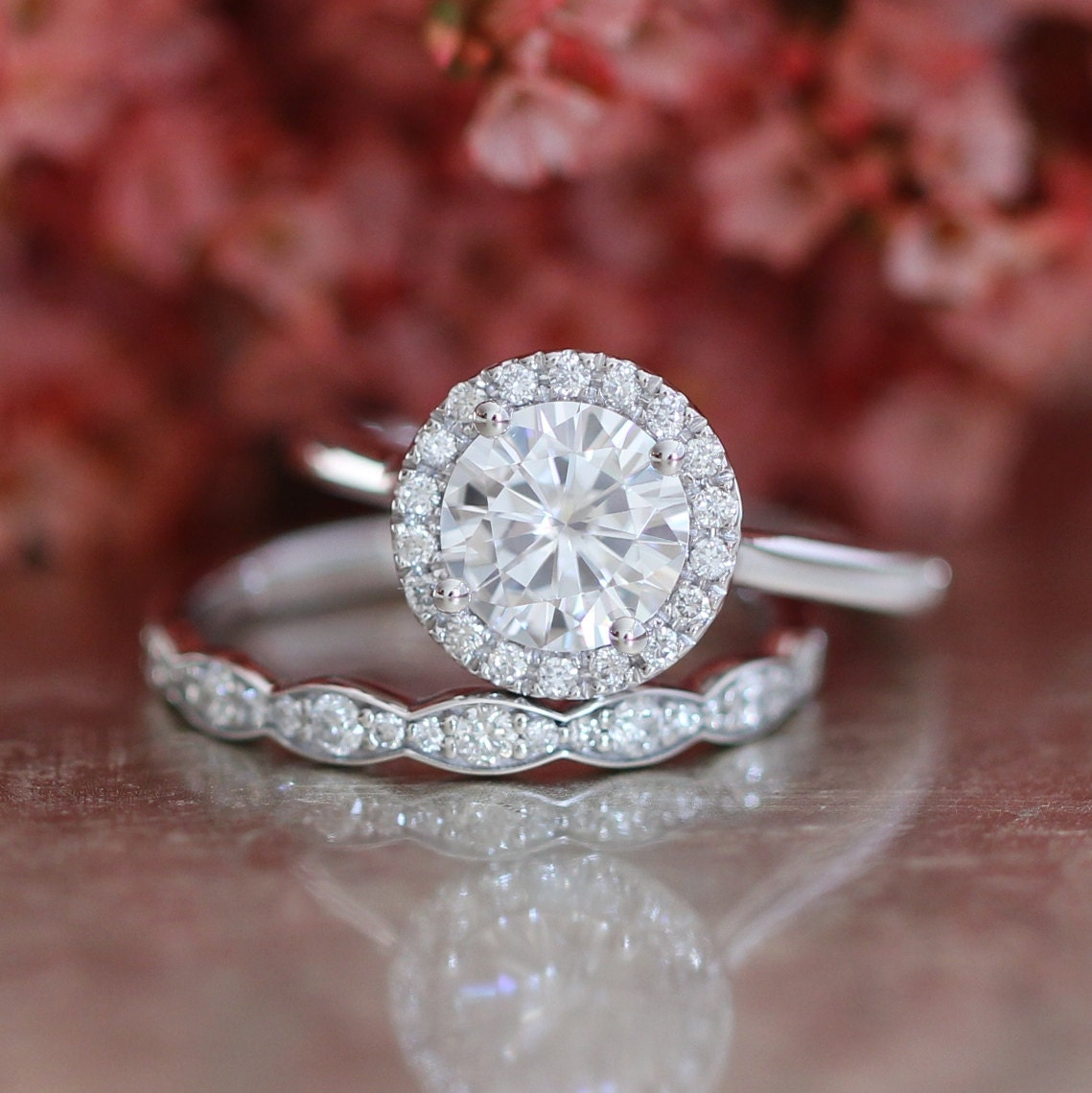 Forever One Moissanite Engagement Ring and Scalloped Diamond