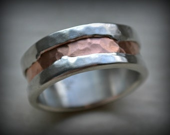rustic fine silver and copper ring - handmade hammered and texturized artisan designed wedding or engagement band - customized