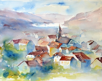 Village watercolor, city watercolor, Original painting,Watercolour,Watercolor, aquarelle de village,Aquarelle,peinture originale,Vosges