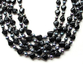1950s Multi strand necklace  black glass and iridescent beads