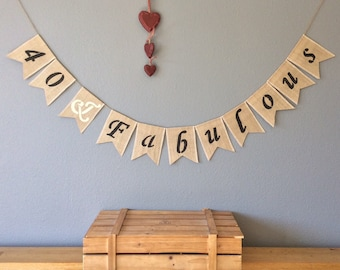 40th Birthday Bunting Banner Hessian Burlap Vintage Rustic
