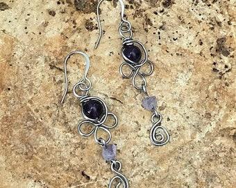 Wire wrapped amethyst earrings