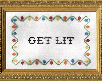 Subversive Cross Stitch Kit: Get Lit
