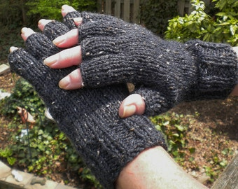 Half Finger Ladies' Gloves Handknit Half Finger Black Merino Wool, Alpaca, Donegal Tweed Half Finger Gloves Black Handknit Ladies' Gloves