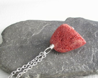 Raw Red Coral Pendant, Natural Stone Necklace, Nautical Jewelry