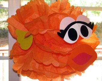 """Orange Goldfish tissue paper pompom kit, inspired by """"Dorothy, Elmo's Goldfish"""" from Sesame Street"""