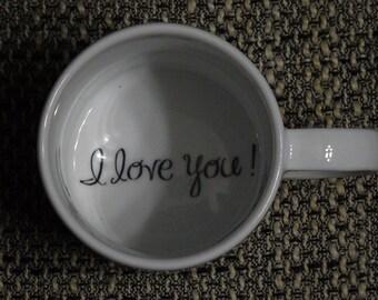 I love you Coffee Mug, Girlfriend mug, Boyfriend, Father, Grandmother, Bottom mug, hidden message, secret message, Funny, Cool, Coffe cup
