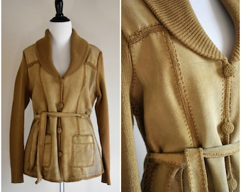 Vintage Cowhide Leather Jacket with Tie | Women's Medium