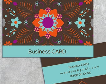 quality business card personalized printable pdf jpg digital png double-sided color mandala web