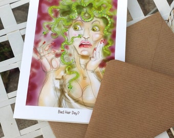 greetings card: 'Bad Hair Day?' - Medusa with split ends / two-headed snakes!
