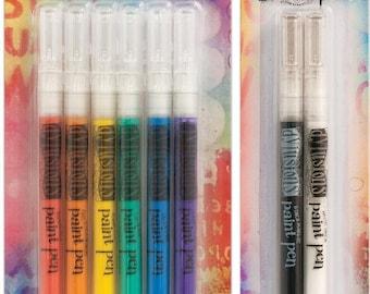 Dyan Reaveley's Dylusions Paint Pens - 6 Color BASICS Pack + White Linen & Black Marble