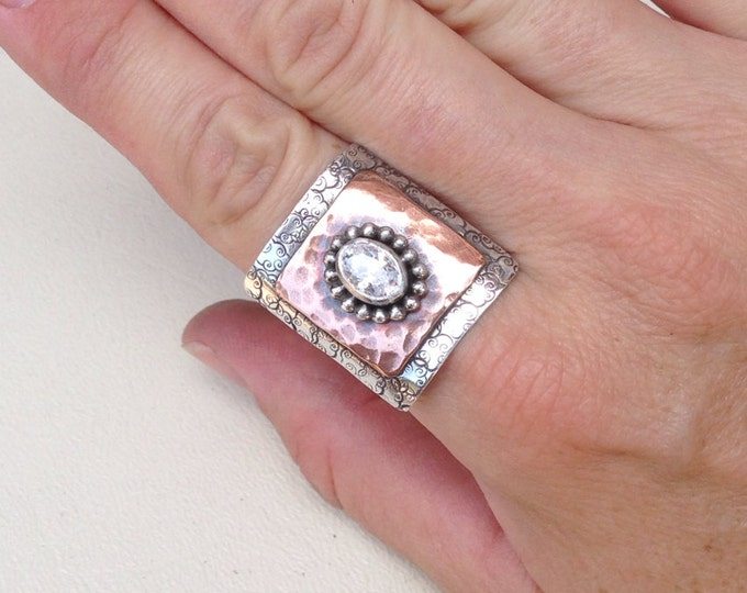 Copper Sterling silver cubic zirconium ring handmade
