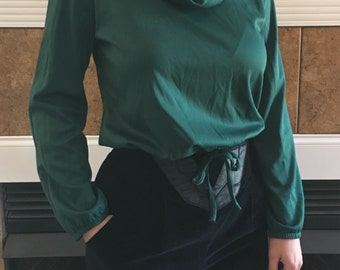80s Polyester Cowl Neck Crop Top