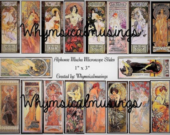 Digital Collage Sheet~ Alphonse Mucha Microscope Slide~ Jewelry~ Mixed Media~ Instant Download