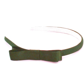 Olive Green Bow Headband - Skinny Headband - Adult Bow Headband, Little Girl Bow Headband, Big Girl Bow Headband
