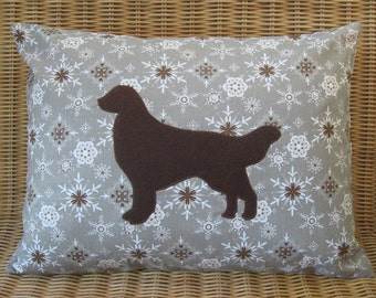"""Appliqued Golden Retriever Pillow with Warm Gray, White, & Brown Snowflake Print and Brown Wool Dog, 12"""" x 16"""""""