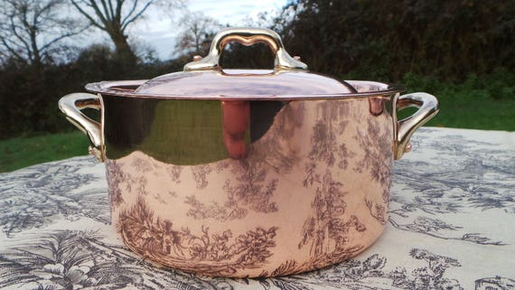 "French Copper Pan Copper Pot Shallow Dutch Oven Casserole Lid 1.6mm Faitout Round Pot 16cm 6 1/4""  Copper Kitchen Casserole Good Tin"