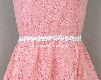 Skinny Ivory  Beaded Lace Sash Belt,  Ivory Bridal Headband, Wedding Lace Sash Belt, Bridal Hair Accessories, Bridesmaid Sash