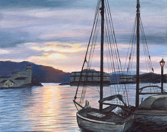 Sailboats and Sunset Canvas Giclee Print