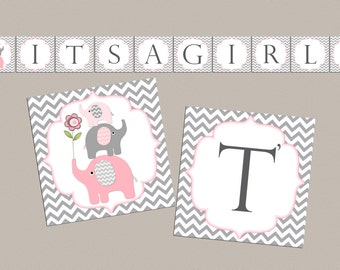 Girl Baby shower banner Its a girl baby shower decorations baby shower banner elephant baby shower banner (50lp)