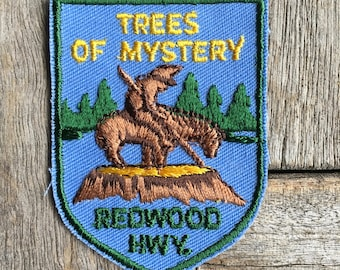 Trees of Mystery Redwood Highway California Vintage Souvenir Travel Patch by Voyager - RARE!