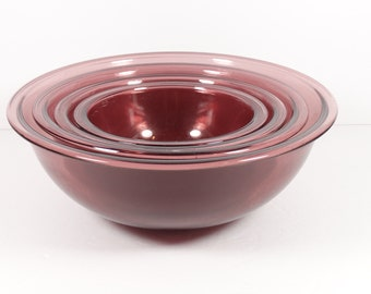 Pyrex Set of 4 Purple Glass Mixing Bowls, Vintage Midcentury Amethyst Cranberry Visions Pyrex Baking Mixing Bowls 322 323 325 326